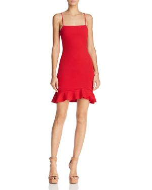 SUNSET & SPRING Sunset + Spring Ruffle-Hem Body-Con Dress - 100% Exclusive in Red