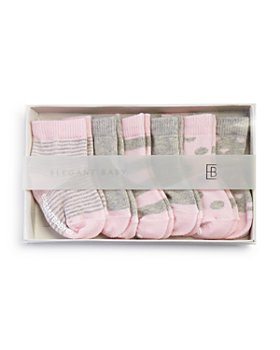 Elegant Baby - Girls' Classic Pink Socks, 6 Pack - Baby