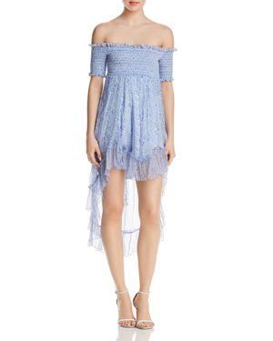 KARINA GRIMALDI Carol Smocked Off-The-Shoulder Floral-Print Dress in Blue Wallpaper