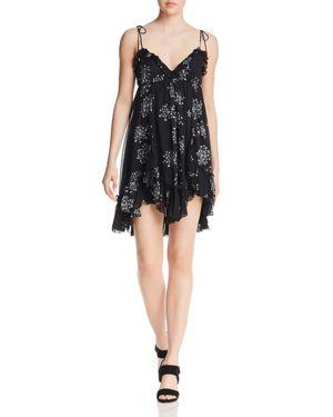 KARINA GRIMALDI Saralyn Botanical-Print Mini Dress in Black Dandelion