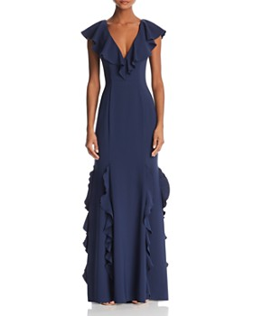 AQUA - Ruffled Back-Lace-Up Gown - 100% Exclusive