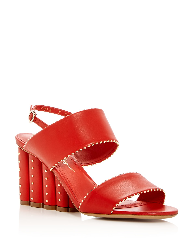 Salvatore Ferragamo Women's Gavi Leather Floral Wedge Slingback Sandals 50xNm