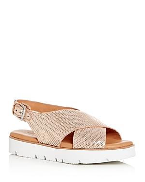 Gentle Souls Women's Kiki Perforated Leather Slingback Platform Sandals