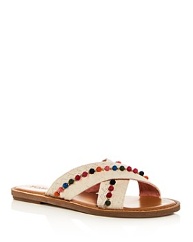TOMS - Women's Viv Hemp & Leather Crisscross Slide Sandals