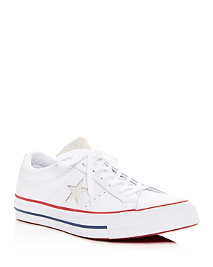 590c08fbd586 Converse Women S One Star Leather Lace Up Sneakers In White  Gym Red ...