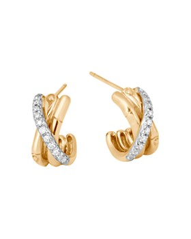 JOHN HARDY - 18K Yellow Gold Bamboo Pavé Diamond J Hoop Earrings