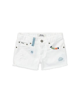 Ralph Lauren - Girls' Distressed White Denim Shorts - Big Kid