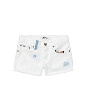 Polo Ralph Lauren Girls Distressed White Denim Shorts  Big Kid