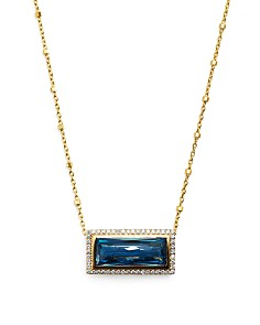 Bloomingdale's - London Blue Topaz & Diamond Pendant Necklace in 14K Yellow Gold, 0.25 ct. t.w. - 100% Exclusive