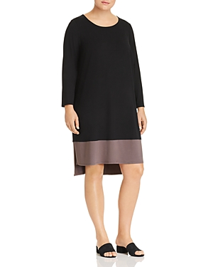 New Eileen Fisher Plus Color Block High/Low Dress, Black