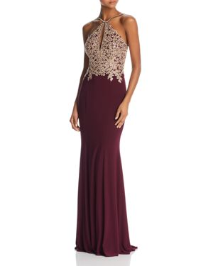 AVERY G EMBROIDERED MERMAID GOWN