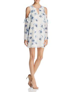 Aqua Floral Ruffle Cold-Shoulder Dress - 100% Exclusive 2878287