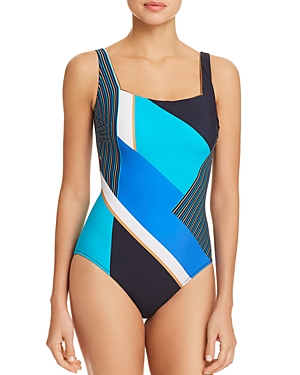 Gottex Maritime Square Neck One Piece Swimsuit