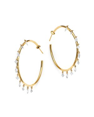 AERODIAMONDS Aerodiamonds 18K Yellow Gold Camille 10-Stone Diamond Hoop Earrings, White/Gold