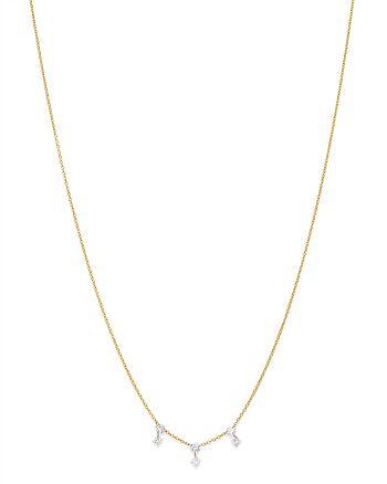 "AeroDiamonds - 18K Yellow Gold Triple Crown Mixed Round & Princess-Cut Diamond Necklace, 18"""