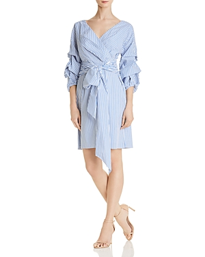 Adrianna Papell Striped Faux-Wrap Dress