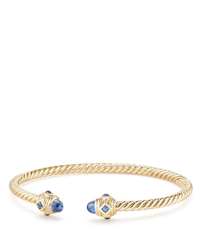 David Yurman Renaissance Bracelet with Light Blue Sapphire in 18K Gold   | Bloomingdale's