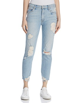 MOTHER - Sinner Distressed Straight Jeans in Thanks for Nothin'