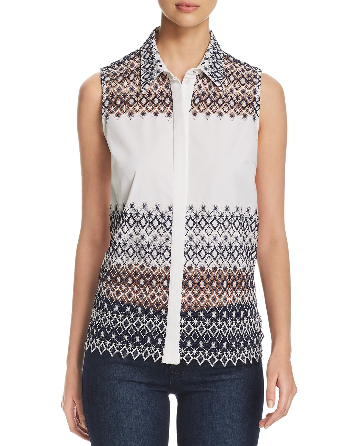 Abina Lace Panel Blouse by Elie Tahari