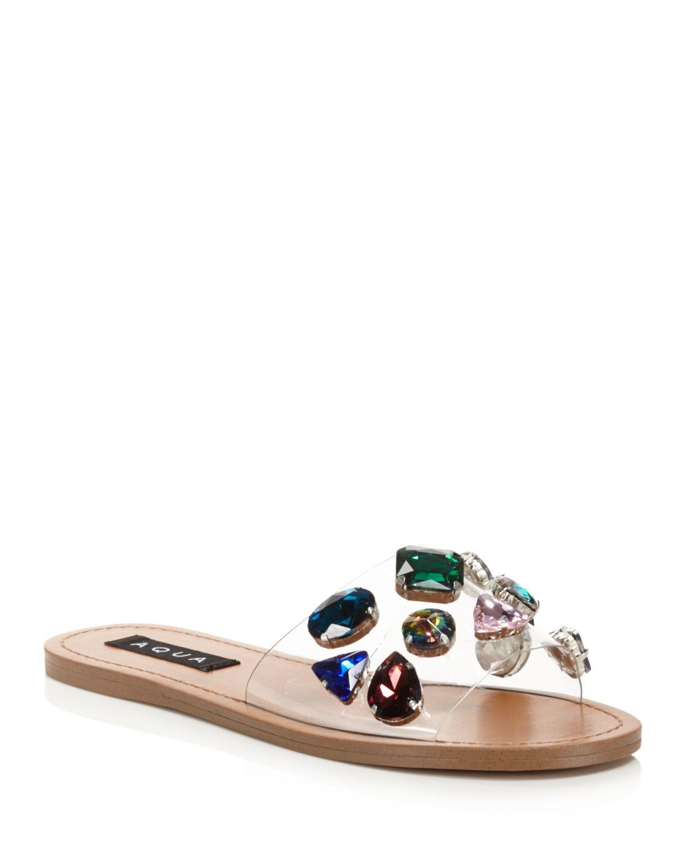 Aqua Women's Trinket Embellished Slide Sandals - 100% Exclusive