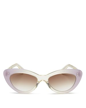 Women'S Pamela Cat Eye Sunglasses, 52Mm, Champagne/Lilac/Brown
