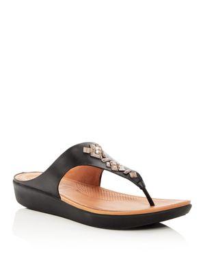 Leather Banda Sandals, Black Leather