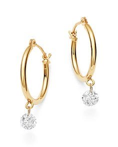 AeroDiamonds - 18K Yellow Gold Solo Diamond Dangle Hoop Earrings