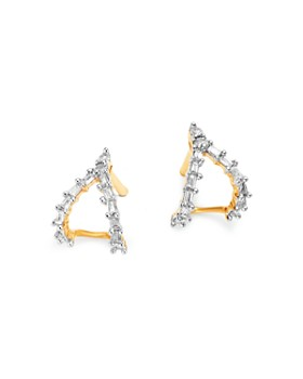 Adina Reyter - 14K Yellow Gold Baguette Diamond Double J Hoop Earrings