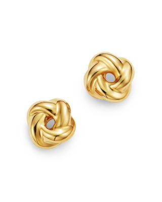 Two Tone 14K Gold Textured Love Knot Stud Earring Set 14K Yellow White Gold 14K Love Knots 14K Gold Earrings 9mm Wide Gold Loveknots