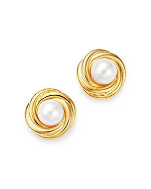 Cultured Freshwater Pearl Knot Earrings in 14K Yellow Gold