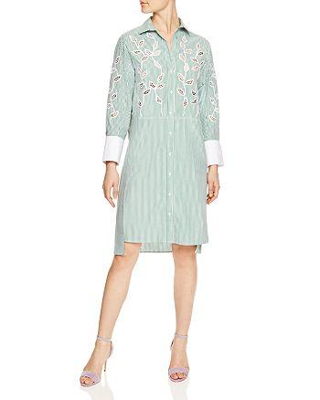 Sandro - Lobna Striped Botanical-Lace Inset Shirt Dress