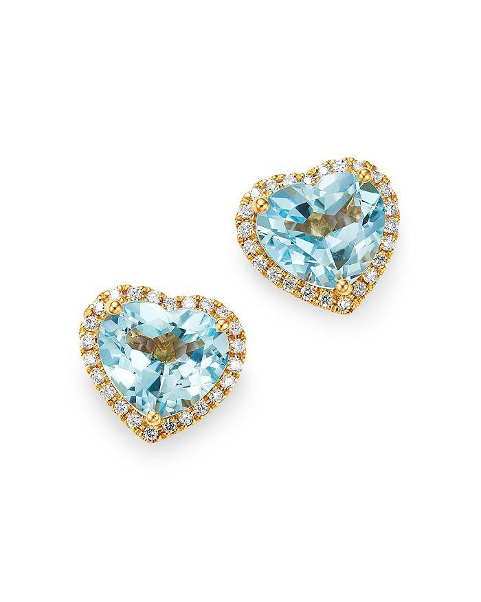 6fa29df5c Kiki McDonough - 18K Yellow Gold Grace Blue Topaz & Diamond Heart Earrings