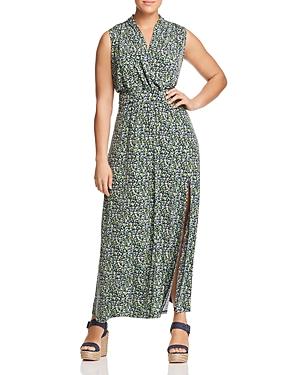 New Michael Michael Kors Plus Ditsy Floral-Print Maxi Dress, True Navy/Green Apple