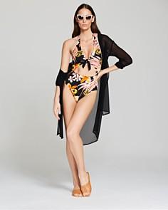 Carmen Marc Valvo - Tie-Front Tunic Swim Cover-Up