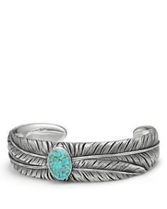 David Yurman - Southwest Wide Feather Cuff Bracelet with Turquoise