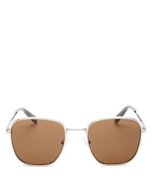 KENDALL AND KYLIE DANA 50MM SQUARE SUNGLASSES - SILVER/ SOLID BROWN