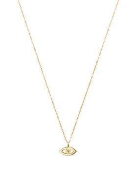 Moon & Meadow - 14K Yellow Gold Evil Eye Pendant Necklace, 16""