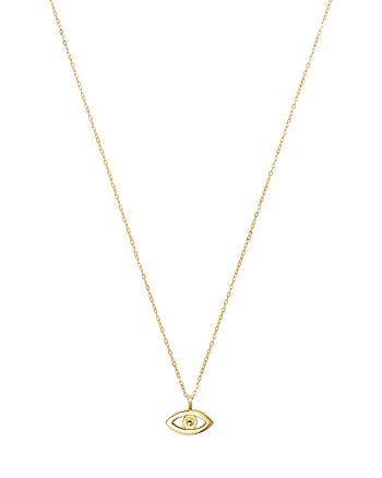 "Moon & Meadow - 14K Yellow Gold Evil Eye Pendant Necklace, 16"""