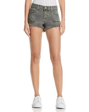 PISTOLA GIGI DISTRESSED CUTOFF DENIM SHORTS IN BURNT SAGE - 100% EXCLUSIVE