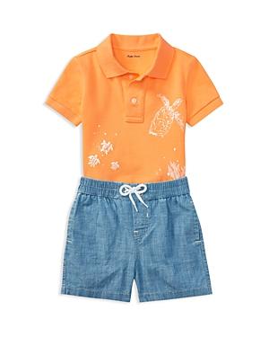 Ralph Lauren Boys Mesh Graphic Polo  Chambray Shorts Set  Baby