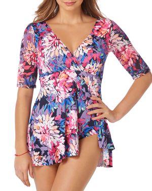 SHAPE SOLVER Gallery Flyaway Swim Dress