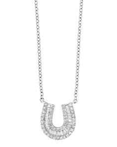 Diamond horseshoe necklace bloomingdales bloomingdales diamond baguette horseshoe pendant necklace in 14k white gold 033 ct tw aloadofball Image collections