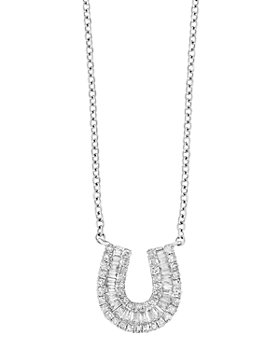 Bloomingdale's - Diamond Baguette Horseshoe Pendant Necklace in 14K White Gold, 0.33 ct. t.w. - 100% Exclusive