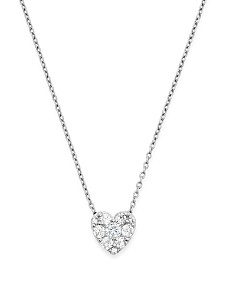 Bloomingdale's - Diamond Heart Pendant Necklace in 14K White Gold, .50 ct. t.w.- 100% Exclusive