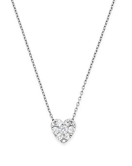 Bloomingdale's - Diamond Heart Pendant Necklace in 14K White Gold, .50 ct. t.w. - 100% Exclusive