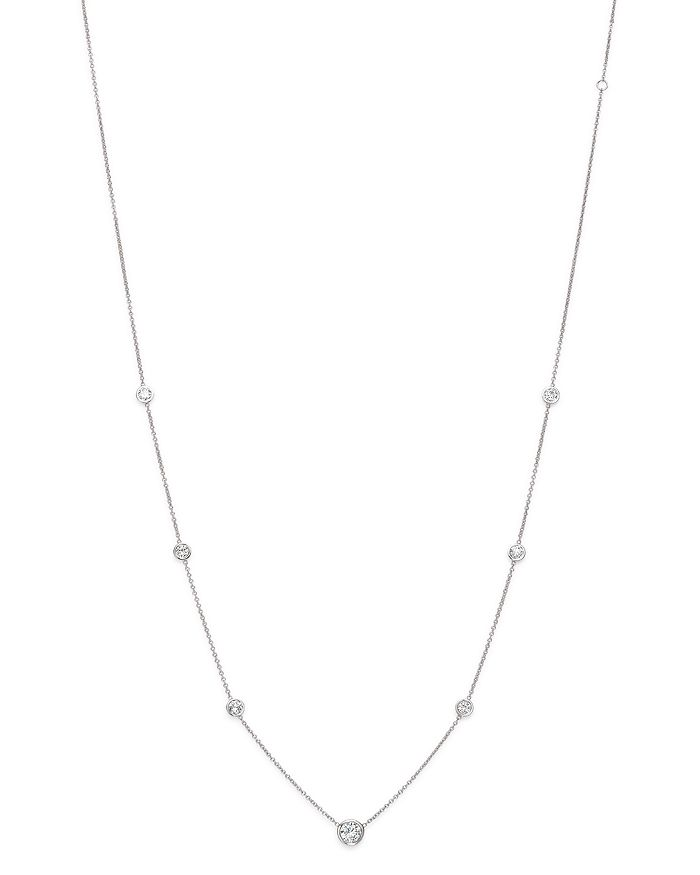Bloomingdale's - Diamond Station Necklace in 18K White Gold, 1.0 ct. t.w. - 100% Exclusive