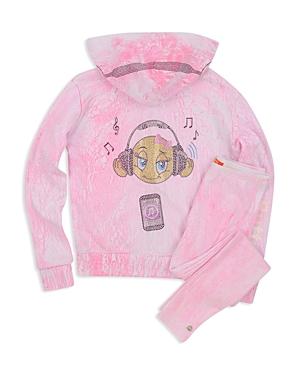 Butter Girls Embellished Crackle Emoji Hoodie  Little Kid