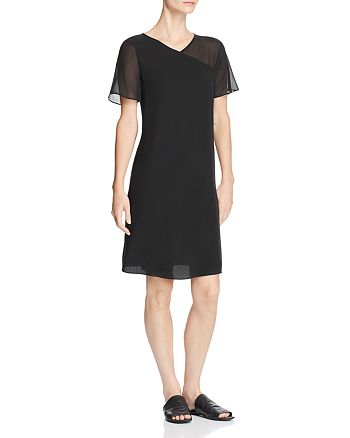 Eileen Fisher - Sheer-Detail Silk V-Neck Dress