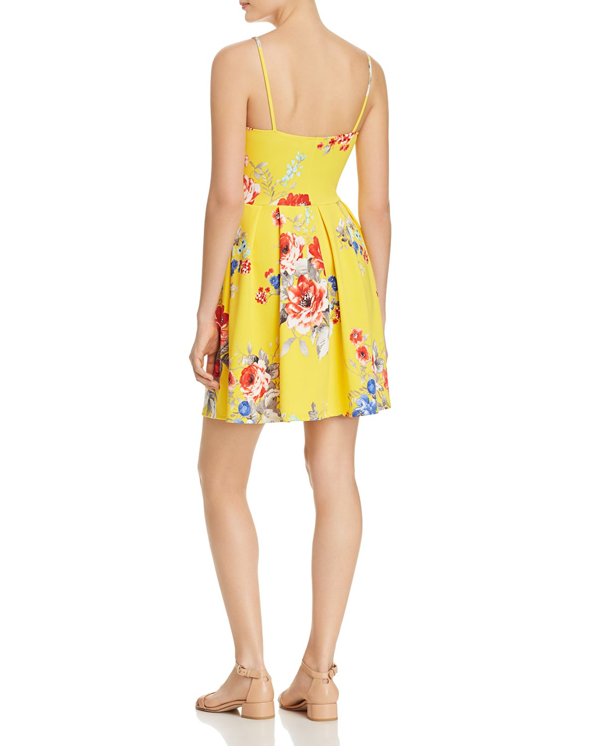 Floral Pleated Fit And Flare Dress   100 Percents Exclusive  by Aqua