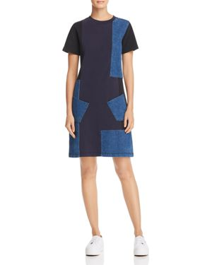 McQ Alexander McQueen Denim Patchwork Dress